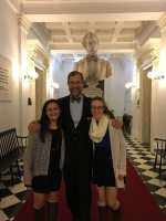 Mia Harton and Sydney Klugo during their 8th Grade trip to statehouse